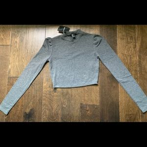 Forever21 Grey/Gray Long Sleeve Crop Top